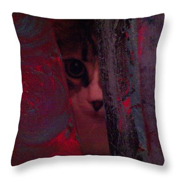 Throw Pillow featuring the photograph Helping In The Art Studio by Jacqueline McReynolds