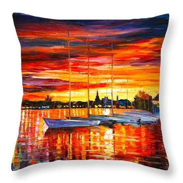 Helsinki Sailboats At Yacht Club Throw Pillow by Leonid Afremov