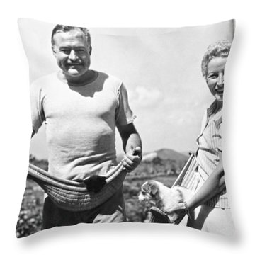 Hemingway, Wife And Pets Throw Pillow by Underwood Archives