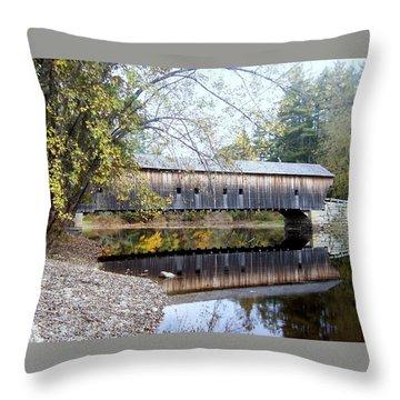 Hemlock Covered Bridge Throw Pillow by Catherine Gagne