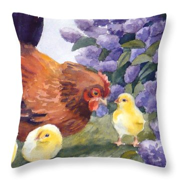 Hen And Chicks Among The Lilacs Throw Pillow