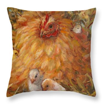 Hen And Chicks Throw Pillow
