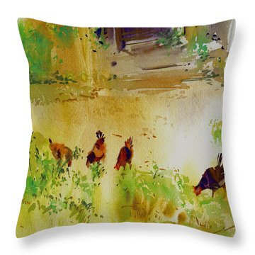 Hen Pecked Throw Pillow