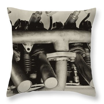 Henderson Motorcycle Engine With A  Heath Parasol Kit  Throw Pillow by Wilma  Birdwell