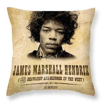 Hendrix Wanted Poster Throw Pillow