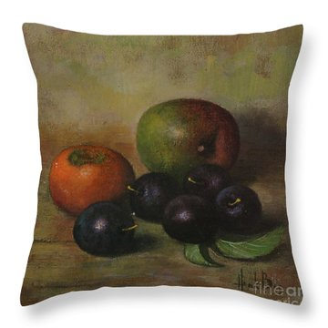 Henk Bos Fruits Still Life Plums  Throw Pillow by Pierpont Bay Archives