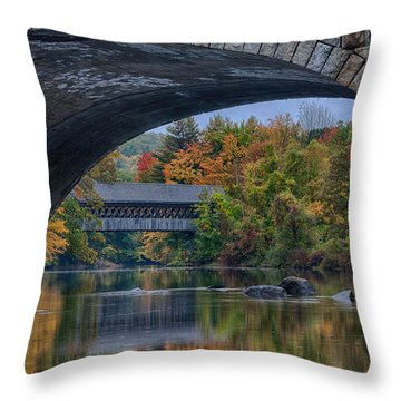 Throw Pillow featuring the photograph Henniker Covered Bridge No. 63 by Jeff Folger