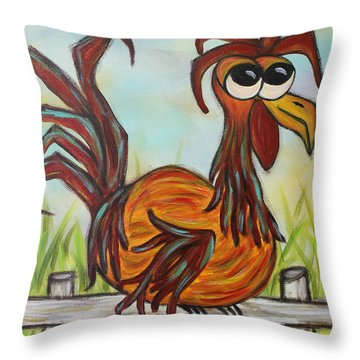 Ol' Rooster Throw Pillow by Molly Roberts