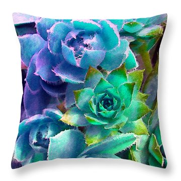 Hens And Chicks Series - Deck Blues Throw Pillow by Moon Stumpp