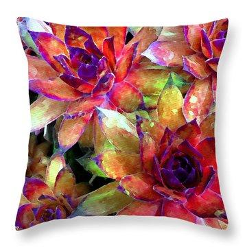 Hens And Chicks Series - Garden Brass Throw Pillow