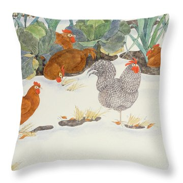 Hens In The Vegetable Patch Throw Pillow