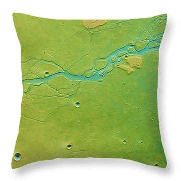 Throw Pillow featuring the photograph Hephaestus Fossae, Mars by Science Source