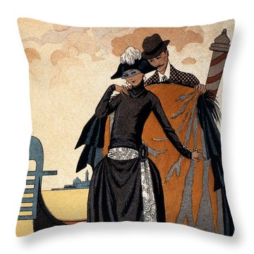 Her And Him Fashion Illustration Throw Pillow by Georges Barbier