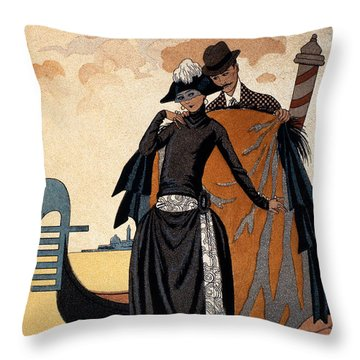 Her And Him Throw Pillow by Georges Barbier