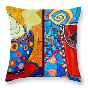 Her And His Coffee Cups Throw Pillow by Ana Maria Edulescu