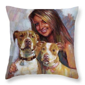 Throw Pillow featuring the drawing Her Best Friends by Viola El