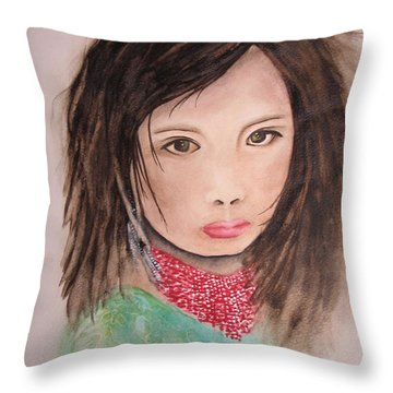 Her Expression Says It All Throw Pillow