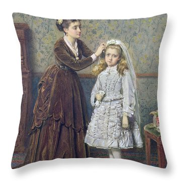 Her First Communion Throw Pillow by George Goodwin Kilburne