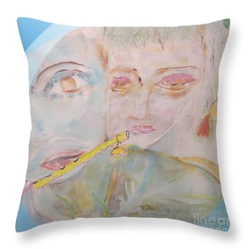 Her Flute Player Throw Pillow