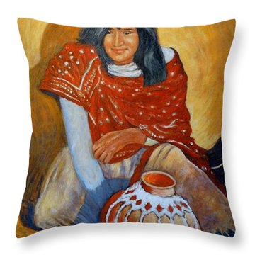 Throw Pillow featuring the painting Her Last Pot by Charles Munn