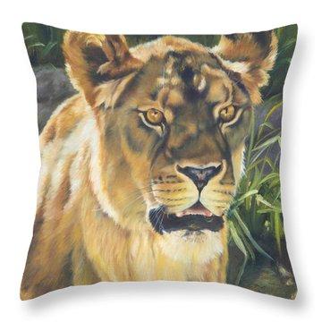 Her - Lioness Throw Pillow by Lori Brackett