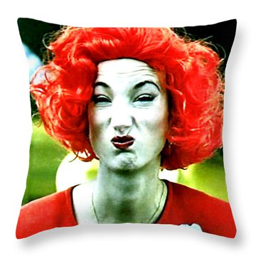 Throw Pillow featuring the painting Her Name Is Li . . .  by Luis Ludzska