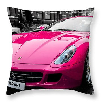 Her Pink Ferrari Throw Pillow by Matt Malloy