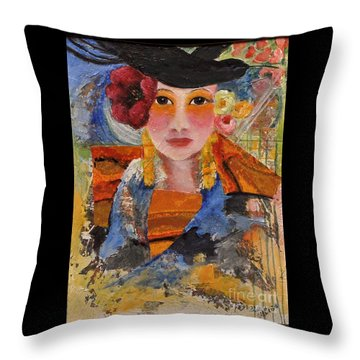 Her Red Flower Throw Pillow by Glory Wood