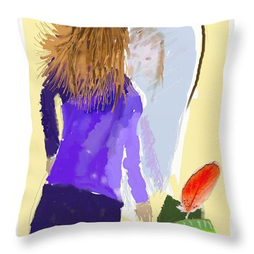 Throw Pillow featuring the digital art Her Reflection by Arline Wagner
