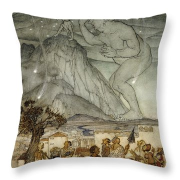 Hercules Supporting The Sky Instead Of Atlas Throw Pillow by Arthur Rackham