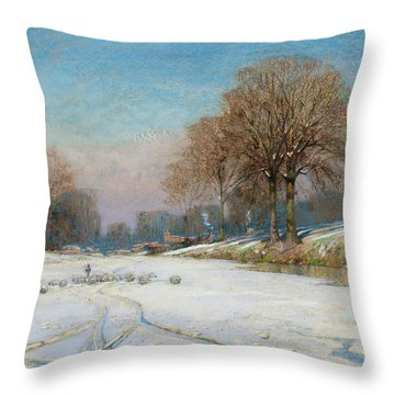 Herding Sheep In Wintertime Throw Pillow by Frank Hind