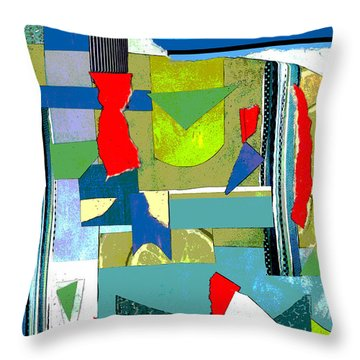 Here And There With Lime Throw Pillow by Mary Bedy