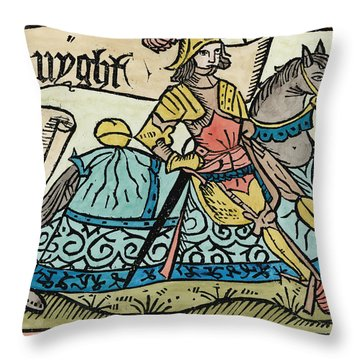 Here Begynneth The Knightes Tale, Illustration From The Canterbury Tales By Geoffrey Chaucer Throw Pillow