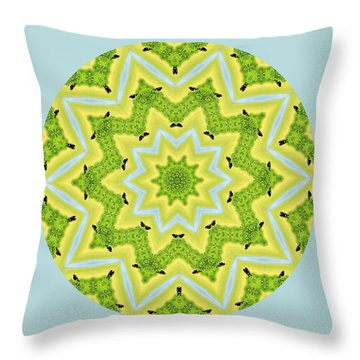 Here Birdie Birdie Mandala Throw Pillow