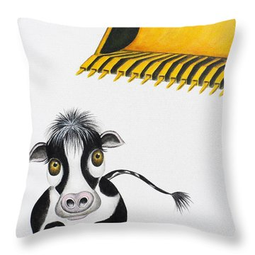 Here Comes The Bulldozer Throw Pillow
