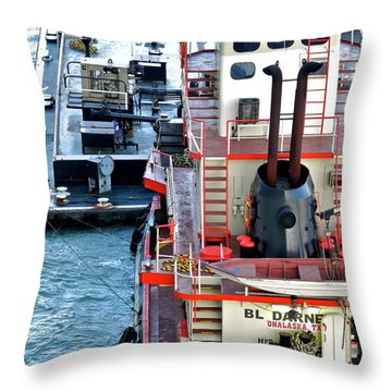 Here Comes The Diesel Fuel For The Ship Throw Pillow