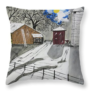 Throw Pillow featuring the painting Here Comes The Sun by Jeffrey Koss