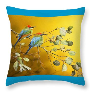 Here Comes The Sun - Rainbow Bee-eaters Throw Pillow by Frances McMahon