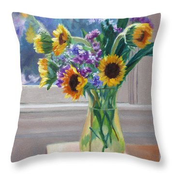 Here Comes The Sun- Sunflowers By The Window Throw Pillow