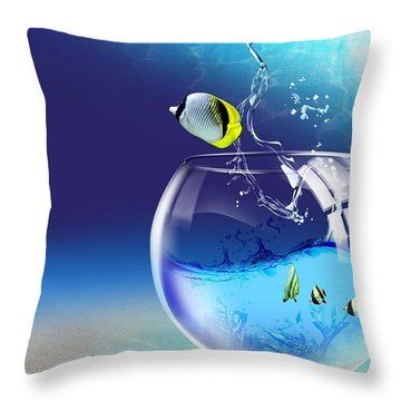 Here Fishy Fishy Throw Pillow by Gianfranco Weiss