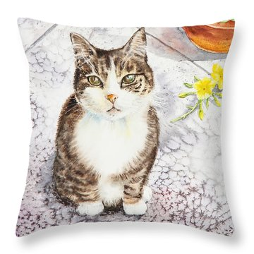Here Kitty Kitty Kitty Throw Pillow