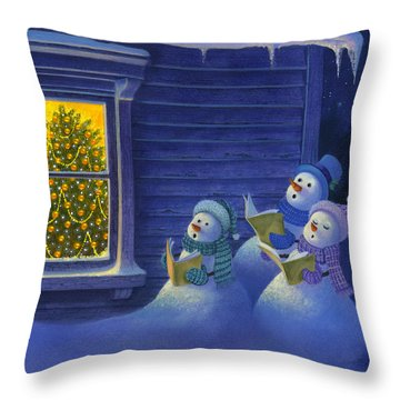 Here We Come A Caroling Throw Pillow by Michael Humphries
