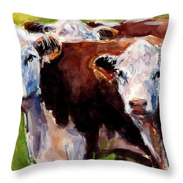 Hereford Ears Throw Pillow by Molly Poole