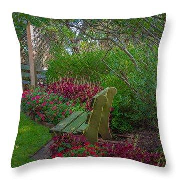 Hereford Inlet Lighthouse Garden Throw Pillow