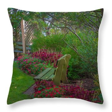 Hereford Inlet Lighthouse Garden Throw Pillow