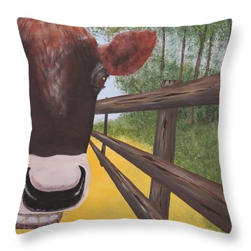 Here's Looking At Moo Throw Pillow by Tim Townsend