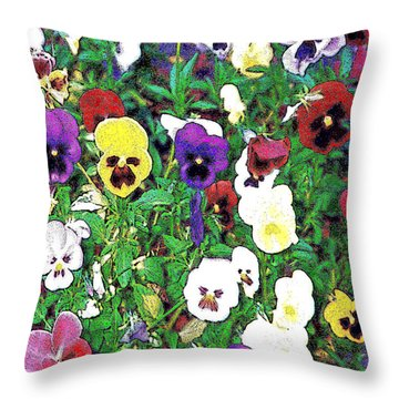 Throw Pillow featuring the photograph Here's Looking At You - Pansy Faces by Merton Allen