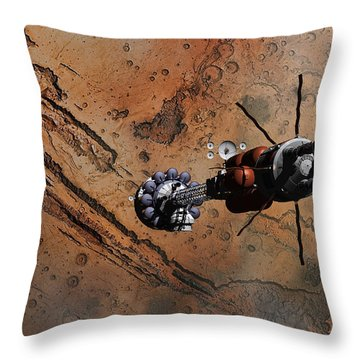 Hermes1 With The Mars Lander Ares1 In Sight Throw Pillow