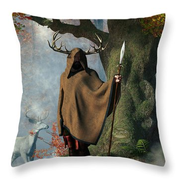 Herne The Hunter Throw Pillow by Daniel Eskridge