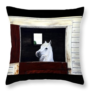 Throw Pillow featuring the painting Hero by Ron Haist